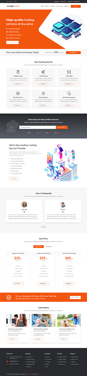 Hosting HTML Template
